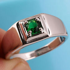 Classic Men Solid 925 Sterling Silver Ring with Emerald Green Stone Size 13