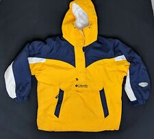 COLUMBIA 1/2 Zip Parka Hooded Pullover Jacket Yellow Navy Large 90s Colorblock