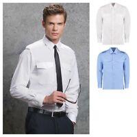 Kustom Kit - Long Sleeve Pilot Shirt - Easy iron- Epaulettes Tabs - Tailored Fit