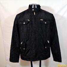INTERNATIONAL CONCEPTS INC Nylon Jacket Mens Size L Black zippered cafe racer