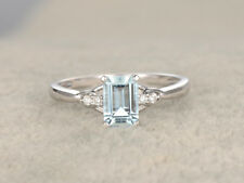 0.8ct Emerald Cut Blue Aquamarine Solitaire Engagement Ring 14k White Gold Over
