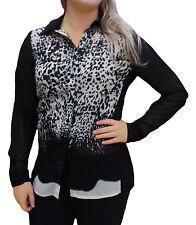 CLEARANCE UK Size 8 - 22 Ladies Black Leopard Shirt Blouse Lightweight Silky