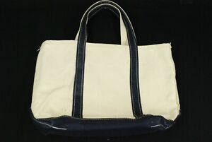 LL Bean Boat & Tote Cotton Canvas Shoulder Bag White Blue Small