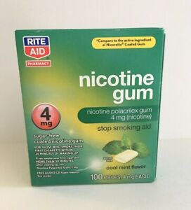 Nicotine Gum 4mg Cool Mint Flav 100 Coated Pieces by Rite Aid, Stop Smoking Aid