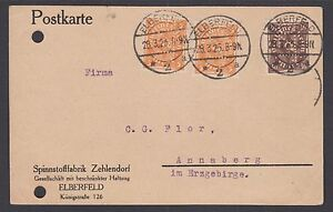 Germany Sc 188/192a PERFIN on 1923 ELBERFIELD Postal Card