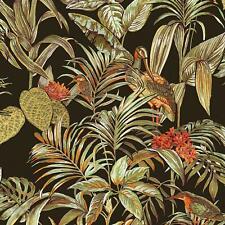 Black Tropical Wallpaper Birds Palm Textured Green Orange Paste the Wall Vinyl