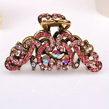 Metal Hair Claw Clip Diamante Crystal Pink Rhinestone Antiq-Gold Hair Clip clamp