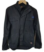 Dickies Mens Denim Jacket Small Size S Coat Black Mans Zip Through Workwear