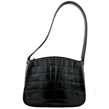 Russell & Bromley Small Black Patent Genuine Leather Mock Croc Shoulder Bag