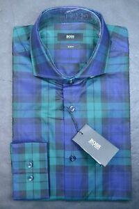 Hugo Boss Men's Jason Slim Fit Open Green/Blue Check Cotton Dress Shirt 42 16.5