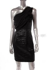 Laundry by Shelli Segal Womens Black One Shoulder Pleat Dress Sz.4 $325 New