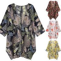 Boho Women's Cover Up Loose Floral Kimono Cardigan Ladies Jacket Coat Top Blouse