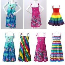 Children Girls Long Dress Casual Sundress Summer Clothes Beach Dress+Necklace