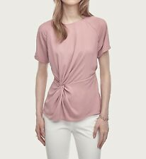 New-Size XS-Ann Taylor-Women Blouse-Knotted Mixed Media Top-Pink-Short Sleeves