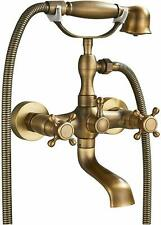 Antique Brass Wall Mounted Bathtub Faucet Spout With Handheld Shower Mixer Tap