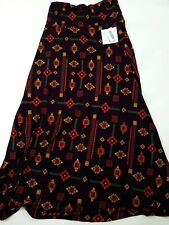 LuLaRoe Maxi Size Large Long Skirt Purple Red Green geometric Print New W Tags