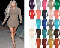 Womens Long Sleeve Stretch Bodycon Dress Ladies Plus Size Plain Short Mini Dress