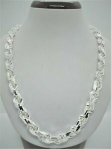 """Handmade Rope Chain Necklace 925 Solid Sterling Silver  Men's 9mm size 20""""-30"""""""