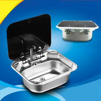 Stainless Steel Caravan RV Camper Hand Wash Basin Kitchen Sink with Lid GR-586#