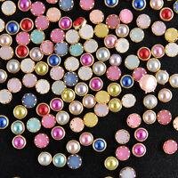 200Pcs 3D Nail Art Acrylic Bling Rhinestone Pearl Charm Glitter Tips Decor DIY C