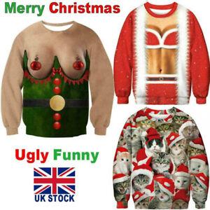 Mens Women Ugly Christmas Jumper Sweater Funny 3D Print Sweatshirt Xmas Pullover