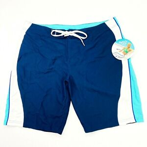 NEW SPEEDO Women's Size 12 Blue White Draw String Swym Board Shorts