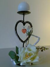 Black Metal Round Pillar Candle Holder Decorated 2 Hearts, Yellow Floral Rose*2