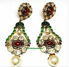 Natural Emerald Polki Diamond With Ruby Gems & Pearl Earring 925 Silver Earring