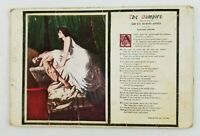 Postcard Creepy The Vampire Women an Man with Side Poem 1914