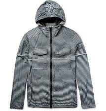 brand new STONE ISLAND Striped Shell Hooded Jacket Small gray $485 drawstring