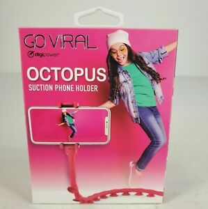 Go Viral Octopus Suction Phone Holder Red Suction Cup Flexible Body New Sealed