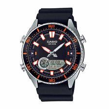 Casio AMW720-1AV Marine Gear Tide Graph Black Silicone Orange Accent Mens Watch