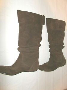 """Womens Size 10 """"Bonanza"""" Brown Suede Leather High Boots Flat Heel Slip On"""
