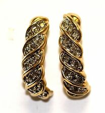 14k yellow gold .72ct SI3 H diamond half hoop dangle earrings 5.8g vintage