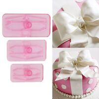 3Pcs Plastic Bowknot Bow Cookie Biscuit Cake Cutter Fondant Mold Pastry Tool