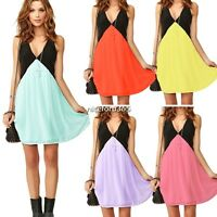 Hot Women V-Neck Sleeveless Chiffon Dress Cocktail Party Summer Short Mini Dress