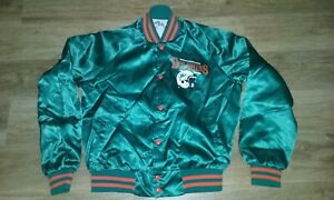 Vintage CHALK LINE NFL MIAMI DOLPHINS SATIN Lightweight Jacket Size S SUPER!