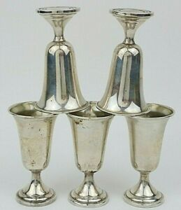 5 STERLING CORDIALS N.S. CO. NEWBURYPORT SILVER  WEIGHTED 1-1/40Z CUP 140g TOTAL