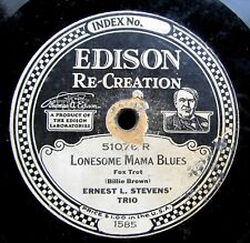 JAZZ/DANCE BAND Edison 78: ERNEST L. STEVENS' TRIO Lonesome Mama Blues/KNECHT