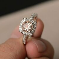 2Ct Round Cut Peach Morganite Halo Engagement Ring 14K White Gold Over
