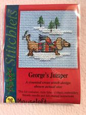 MOUSELOFT STITCHLETS CROSS STITCH KIT ~ GEORGE'S JUMPER ~ CHRISTMAS ~ NEW