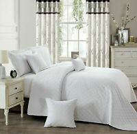 WHITE 3PCS EMBOSSED BEDDING QUILTED  BEDSPREAD THROWS WITH 2 PILLOW SHAMS