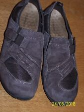 G.H. BASS BRAND BROWN SUEDE LEATHER OXFORD SZ 9M HOOK&LOOP STRAP FLATS PULL-ON