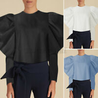 UK Women Puff Sleeve Blouse Party Tops Casual Plain Shirt Plus Size T Shirt Tee