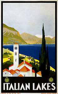Italian Lakes  Vintage Illustrated Travel Poster Print italy painting art 900mm