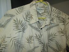HAWAIIAN SHIRT BY COOKE STREET HONOLULU- L- 100% COTTON- BROWNS/GREEN LEAF PRINT