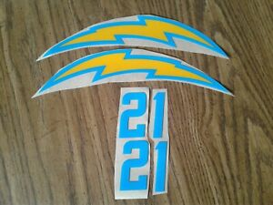 San Diego/Los Angeles Chargers full size football helmet decals set