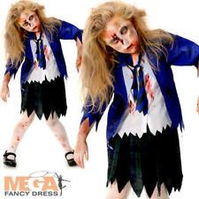 Zombie School Girl + Tights Halloween Fancy Dress Childrens Childs Kids Costume