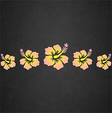 Hibiscus Flower Decal Sticker Row Hawaiian Car Window Beach Tropical Pnk/Yel