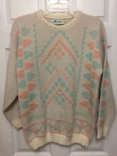 Vinatge Glamour Knit 1980's Acrylic Sweater Pink Off White Metallic